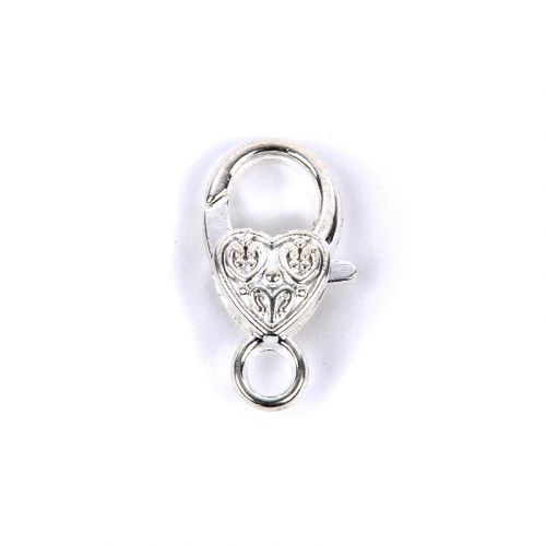 X Silver Plated Heart Shaped Lobster Clasp 13x25mm Pk1