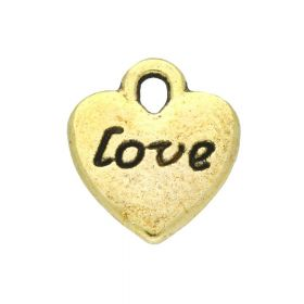 Love heart / charm pendant / 11x10x2mm / antique gold / 8pcs