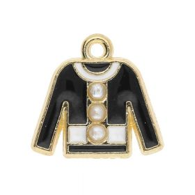 SweetCharm ™ Jacket / pendant charms / 15x16x3.5mm / gold plated / black-white / 2pcs