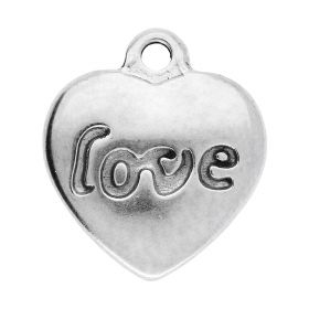 Love' heart / pendant / surgical steel / 17x15x3mm / silver / 1pcs