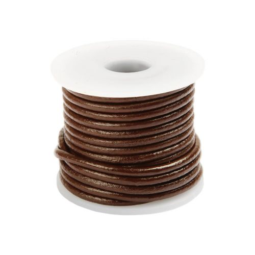X Brown Round Leather 2mm Cord 5metre Reel