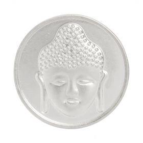Matte Silver Plated 2 Sided Coin Buddha/Flower For Interchangeable Locket 32mm Pk1