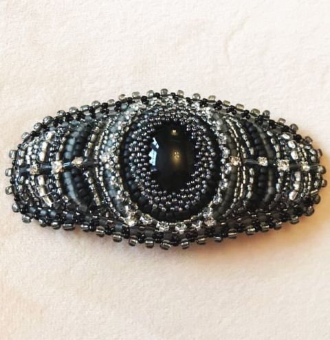 Beaded Bezel Hair Grip