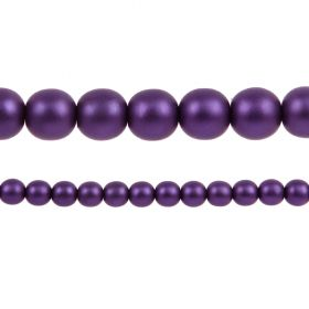 Purple Matte Czech Glass Round Pearl Beads 8mm Pk75