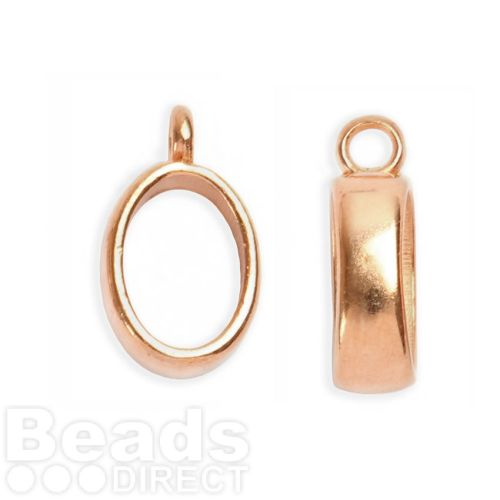 Rose Gold Plated Charm Carrier for Regaliz Leather 14.5x10mm Pk2
