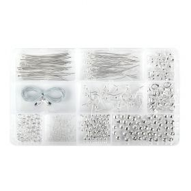 Findings Kit / 10 Styles / Includes Box / Silver Plated / 412 pcs