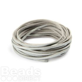 Double Sided Leather/Suede 3mm Flat Cord Silver and Grey 5m