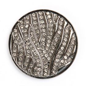 Rhodium Plated Clear Crystal Coin Disk for Interchangeable Locket 32mm Pk1