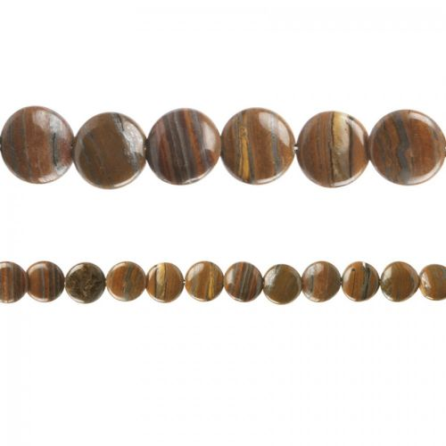 """X"" Tiger Iron Semi Precious Coin Beads 20mm 15"" Strand"