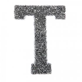 Swarovski Crystal Letter 'T' Self-Adhesive Fabric-It Black CAL Pk1