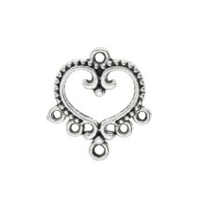 Heart / earring base / connector / 5 loops / 21x19x2mm / silver / loop 1.5mm / 4pcs