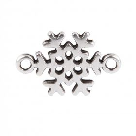Antique Silver Zamak Snowflake Connector 13x19mm Pack of 1