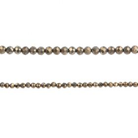 "Pyrite Semi Precious Faceted Round Beads 1.5mm 15"" Strand"