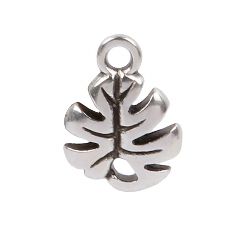 Antique Silver Zamak Small Monstera Leaf Charm 9x10mm Pk2