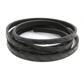 Black Braided Faux Leather Flat Cord 6mm Pre Cut 1metre