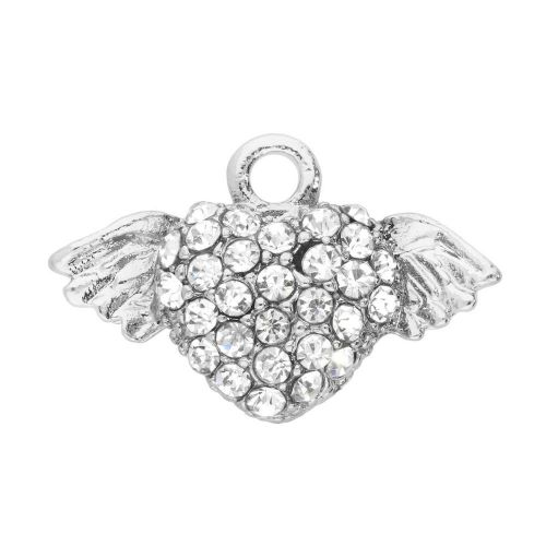 Glamm ™ Heart with wings / charm pendant / with zircons / 12.5x19.5x4mm / silver plated / 1pcs