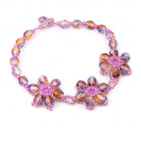 Fuchsia Daisy Chain Cluster Bracelet Take a Make Break Kit - Makes x2