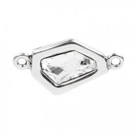 Silver Plated Zamak Irregular Charm with Clear Swarovski 37x20mm Pk1