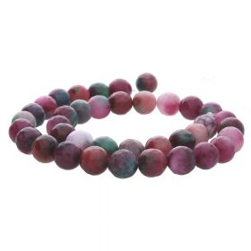 Agate / faceted round / 10mm / green-white-magenta / 35pcs