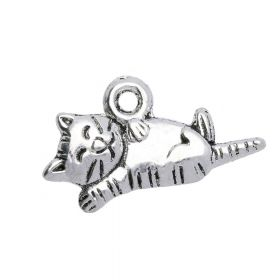 Sleepy cat / charm pendant / 11x20x2.5mm / silver / 6pcs