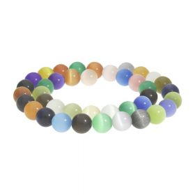 Cat's eye (synthetic) / round / 4mm / multicolour / 96pcs