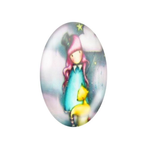 Glass cabochon with graphics oval 13x18mm PT1493 / pink-light blue / 2pcs