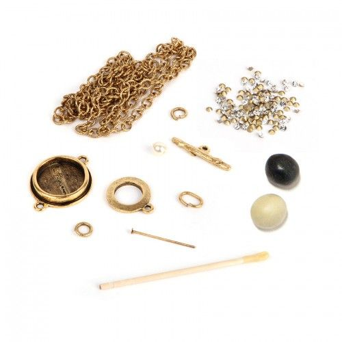 Antique Gold Plated Nunn Design Necklace Kit with Clay & Crystals