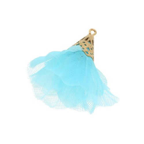 Tulle flower  / with openwork tip / 30mm / Gold Plated / light turquoise / 2 pcs