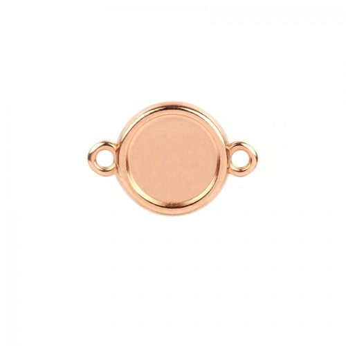 Rose Gold Plated Zamak Round Connector Setting 15mm Pk1