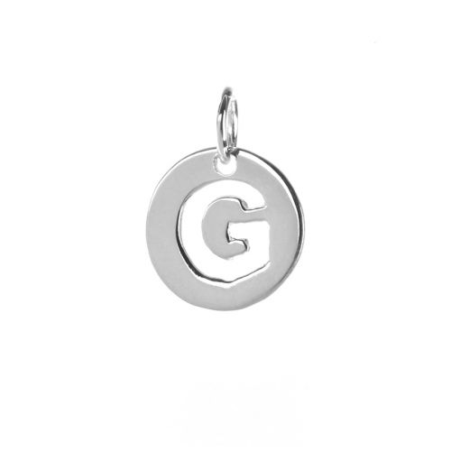 Sterling Silver 925 'G' Letter Cut Out Charm 11mm Pk1