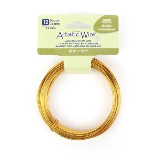 """X"" Beadalon Anodized Gold Craft Wire Aluminium 12gauge(2.1mm) 12 metre Coil"