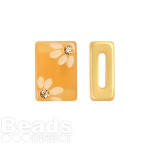 Amber Flower Polaris Rectangle Bead with Swarovski Crystals 6x10x15mm Pk1