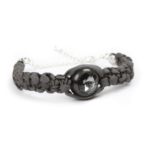 Crystal Orb Grey Silk Bracelet