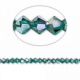 5328 Swarovski Crystal Bicones Xillion 3mm Emerald AB Pk24