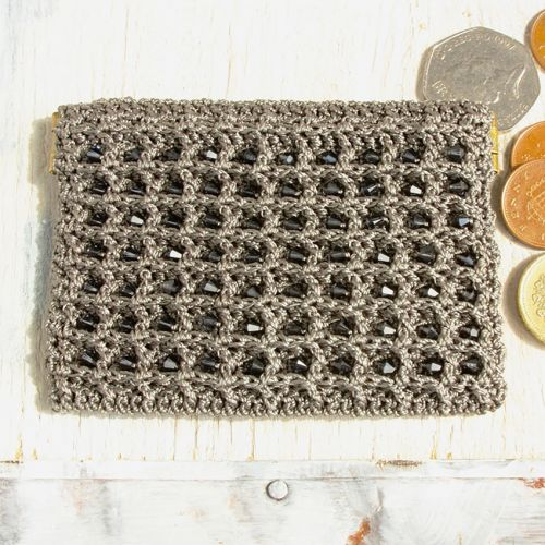 Graphite Crochet Coin Purse Kit by Dorothy Wood