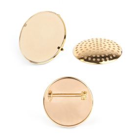 Gold Plated Large Sieve Disk and Brooch Base 32mm Pk1