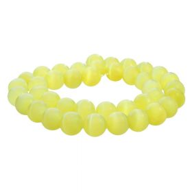 Cat's eye / round / 10mm / yellow / 40pcs