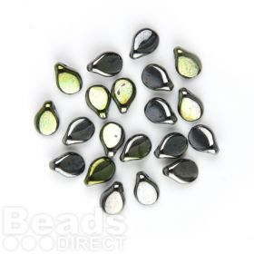 Preciosa Czech Pressed Glass Pip Gunmetal Green 5x7mm Pk20