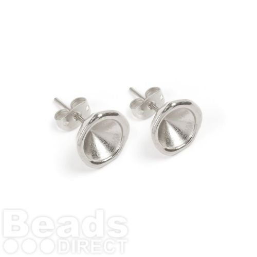Antique Silver Zamak Earring Cups for SS39 (8mm) Chatons 11.5mm with Backs 1xPair