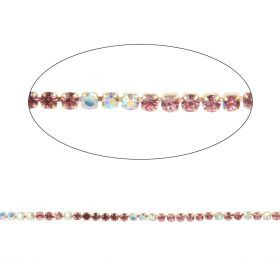 Pink/Crystal AB Crystal Gold Plated Cupchain 2mm 1metre