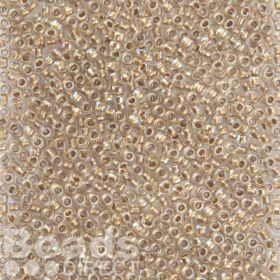 Toho Size 8 Round Seed Beads Gold-Lined Rainbow Crytal 10g
