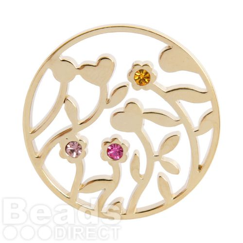 KB Gold Plated Flower Filigree Coloured Crystal Coin For Interchangeable Locket 32mm Pk1