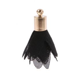 Black Nylon Flower Tassel Charm w/Gold Plated Cup 25mm Pk5