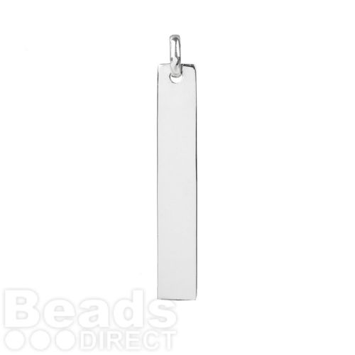 Sterling Silver 925 Rectangle Blank Charm 6.5x40mm Pk1