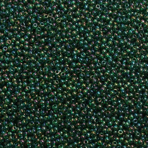 X- Toho Size 11 Round Seed Beads Trans-Rainbow Green Emerald 10g
