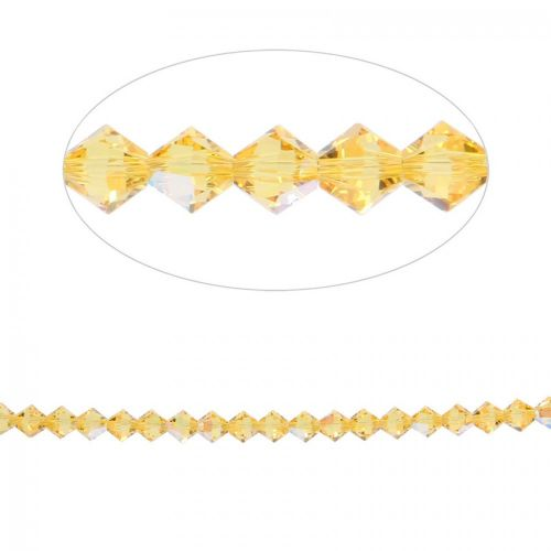 5328 Swarovski Crystal Bicone Beads 4mm Light Topaz Shimmer Pk24