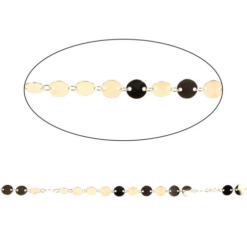 Gold Plated Brass Connected Disk Chain 8mm 1metre