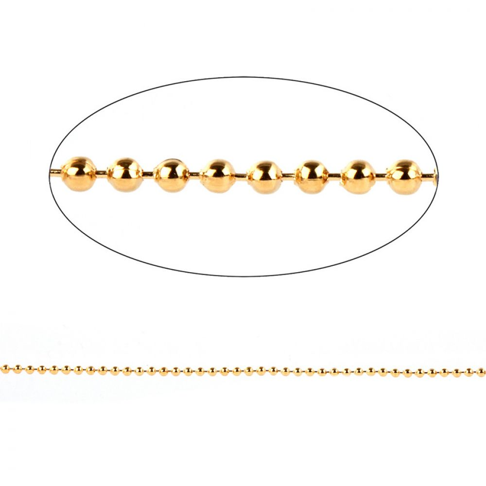 cb8e38e075bcd Gold Plated Brass 2mm Ball Chain 1 Metre length with 2 Clasps