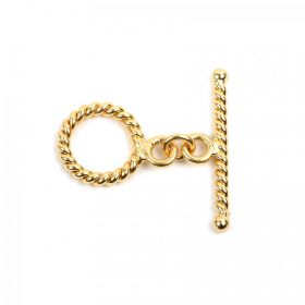 Gold Plated Twist Effect Toggle Clasp Set 15x20mm Pk1
