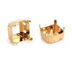 4480/S Swarovski Twin Hole Imperial Fancy Setting 10mm Gold Plated Pk1